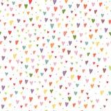Beeldverhaal naadloze achtergrond met kleurrijke harten en cirkelsbac Stock Fotografie
