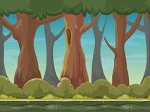 Beeldverhaal naadloze bos vectorachtergrond voor smartphone app en computerspelen Royalty-vrije Stock Fotografie