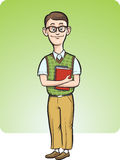Beeldverhaal nerd mens het glimlachen Stock Foto