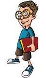 Beeldverhaal nerd met glazen en een boek Stock Foto's