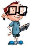 Beeldverhaal nerd met glazen en een smartphone Stock Fotografie