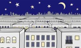 Beeldverhaal Nightscape Royalty-vrije Stock Afbeelding