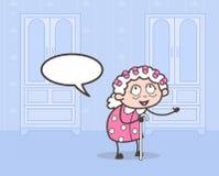 Beeldverhaal Oude Dame Making Styles op Haren Vectorillustratie vector illustratie