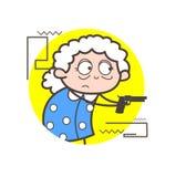 Beeldverhaal Oude Dame Showing Gun in Zelf - defensie Vectorillustratie stock illustratie