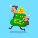 Beeldverhaal oude man en oude vrouw met de grote zak van pensioneringsbesparingen Royalty-vrije Stock Afbeeldingen