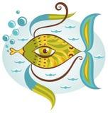 Beeldverhaal overzeese vissen Royalty-vrije Stock Afbeeldingen