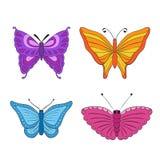 Beeldverhaal polair met harten Kleurrijke Vlinders Stock Fotografie