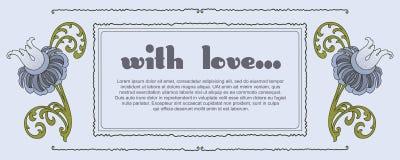 Beeldverhaal polair met harten Romantisch etiket met bloemen Stock Fotografie