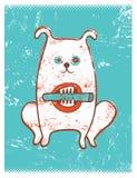 Beeldverhaal retro grappige hond met stok Vector grungeillustratie Stock Afbeeldingen