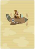 Beeldverhaal retro proefvliegenier op zijn uitstekend vliegtuig op vlucht Royalty-vrije Stock Foto