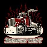 Beeldverhaal retro semi vrachtwagen vector illustratie