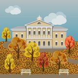 Beeldverhaal rijk manor of paleis in kleurrijk de herfstlandschap stock illustratie