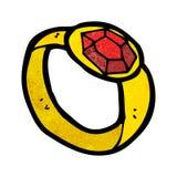 beeldverhaal robijnrode ring Stock Afbeeldingen