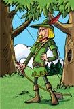 Beeldverhaal Robin Hood in het hout stock illustratie