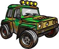 Beeldverhaal rode jeep Geïsoleerde gekleurd Stock Afbeelding