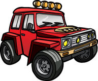 Beeldverhaal rode jeep Geïsoleerde gekleurd Royalty-vrije Stock Afbeeldingen
