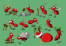 Beeldverhaal Rode Mieren Stock Afbeelding