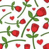 Beeldverhaal Rode Rose Seamless Pattern Stock Foto