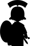 Beeldverhaal Roman Soldier Silhouette Royalty-vrije Stock Foto's