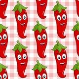 Beeldverhaal Roodgloeiend Chili Pepper Seamless Royalty-vrije Stock Afbeeldingen