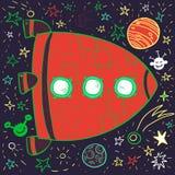Beeldverhaal ruimteraket, planeten en sterren vector illustratie