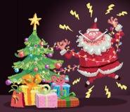 Beeldverhaal Santa Claus die een elektrische schokongeval hebben bij christm Stock Foto