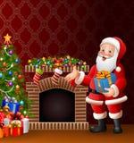 Beeldverhaal Santa Claus die een giftdoos houden Royalty-vrije Stock Afbeeldingen