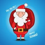 Beeldverhaal Santa Claus die een giftzak houden Stock Foto's
