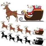 Beeldverhaal Santa Claus met het vliegen rendierinzameling Stock Foto