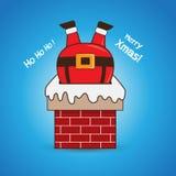 Beeldverhaal Santa Claus in schoorsteen Stock Afbeeldingen