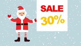 Beeldverhaal Santa Claus tegen een achtergrond van dalende sneeuw met een lege banner voor uw tekst banner met verkoop 30% stock illustratie