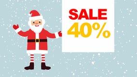 Beeldverhaal Santa Claus tegen een achtergrond van dalende sneeuw met een lege banner voor uw tekst banner met verkoop 40% stock illustratie