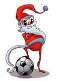 Beeldverhaal Santa With een Voetbalbal Stock Foto's