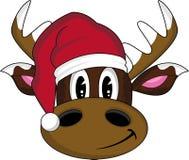 Beeldverhaal Santa Hat Reindeer Stock Fotografie