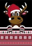 Beeldverhaal Santa Hat Reindeer Stock Afbeelding