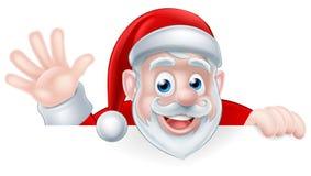Beeldverhaal Santa Waving Stock Afbeelding