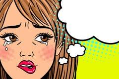 beeldverhaal schreeuwende vrouw royalty-vrije illustratie