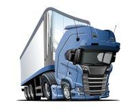Beeldverhaal semi die vrachtwagen op witte achtergrond wordt ge?soleerd stock illustratie