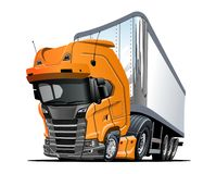 Beeldverhaal semi die vrachtwagen op witte achtergrond wordt ge?soleerd vector illustratie
