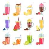 Beeldverhaal smoothie Diverse de zomerdranken smoothie plaatsen vector illustratie