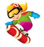 Beeldverhaal snowboarder - jongen vector illustratie