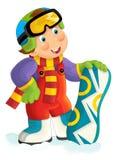 Beeldverhaal snowboarder - jongen royalty-vrije illustratie