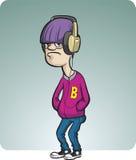 Beeldverhaal sombere tiener met hoofdtelefoons Stock Afbeelding