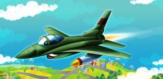 Beeldverhaal straalvechter die over één of andere stad vliegen royalty-vrije illustratie