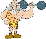 Beeldverhaal strongman holding een barbell Stock Afbeeldingen