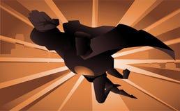 Beeldverhaal Super held die backlight vliegen vector illustratie