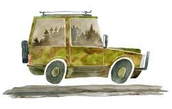 Beeldverhaal SUV Waterverfillustratie van de achtergrond wordt geïsoleerd die stock fotografie