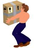 Beeldverhaal topless mens die groot doos achterstandpunt innemen Royalty-vrije Stock Foto