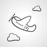 Beeldverhaal transparant vliegtuig en de vectorillustratie van het wolkenpictogram stock illustratie