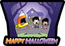 Beeldverhaal truc-of-Traktatie Halloween Royalty-vrije Stock Foto